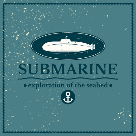 seabed: Label submarine, exploration of the seabed, lettering design on blue backgraund
