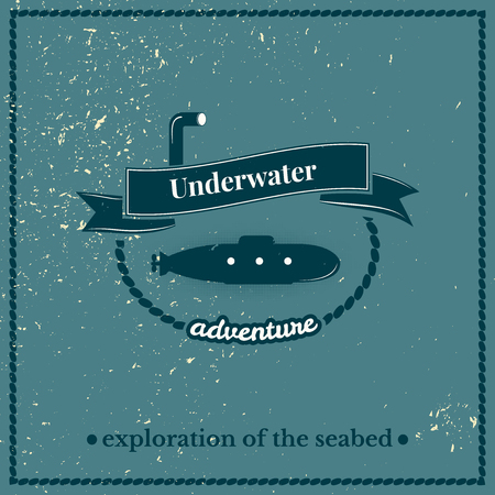 seabed: Label submarine, exploration of the seabed, lettering design on blue background