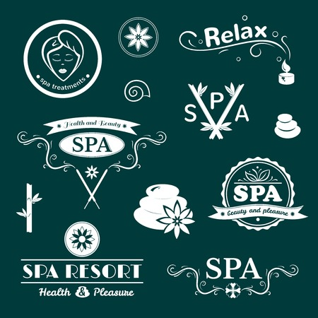 skin care woman: SPA typography, wellness labels set