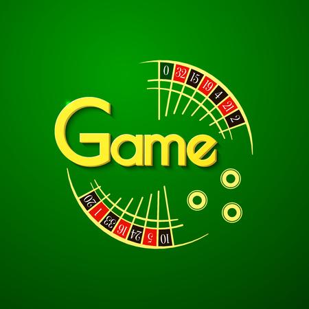 bage: Game casino typography design, roulette illustration on green background Illustration
