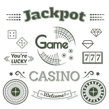 ROULETTE: Casinò e set di etichette, design tipografia, roulette illustrazione