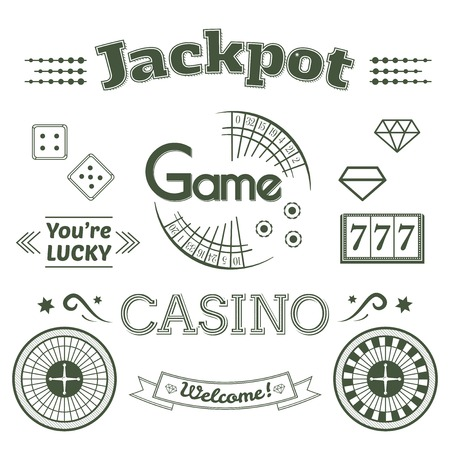 wheel of fortune: Casino and label set, typography design, game roulette illustration