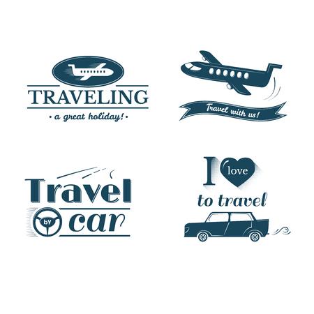 trip: Travel and label set, typography design, trip and flight illustration