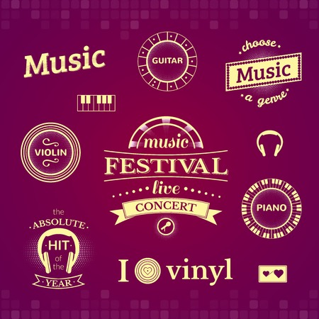 Music labels and illustrations, typography set