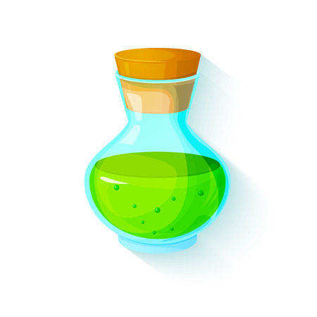 elixir: The elixir of Life, icon of the game equipment, bottle with green liquid