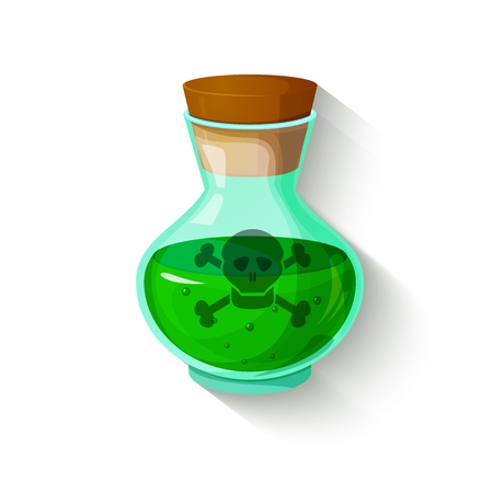 poison symbol: Glass bottle with a green toxic liquid, poison symbol