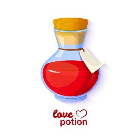 사랑의 묘약, 게임 장비의 아이콘, 빨간 액체와 병 벡터 로맨틱 일러스트 일러스트
