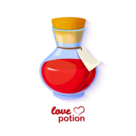 Love potion, icon of the game equipment, bottle with red liquid, vector romantic illustration