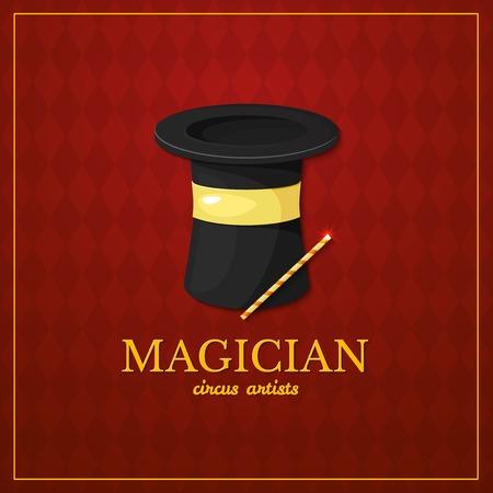 mago: Logo Mago, diseño de la tipografía de circo, artista de circo, ilustración vectorial en el fondo de la vendimia