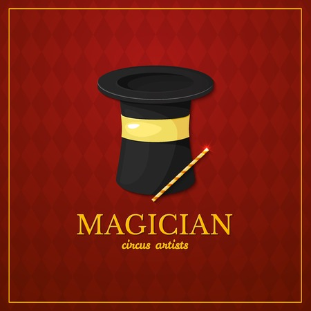 magician wand: Magician logo, circus typography design, circus artist, vector illustration on vintage background Illustration
