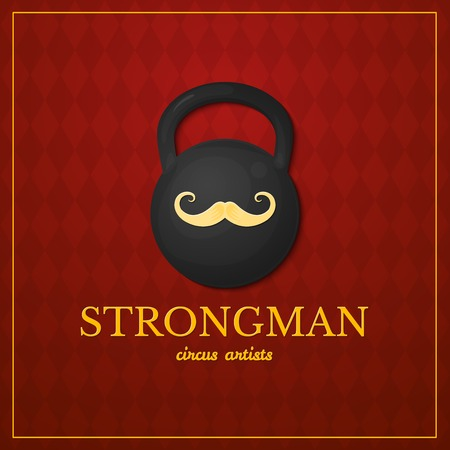 strongman: Strongman logo, circus typography design, circus artist, vector illustration on vintage background