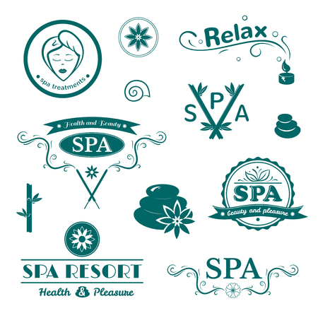 spa therapy: SPA logos, vector typography, wellness labels set
