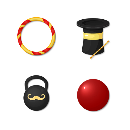 strongman: Vector icons circus artists, strongman, acrobat, magician, clown isolated on white background