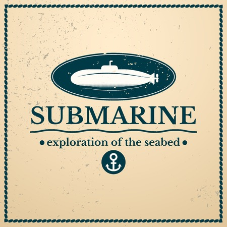 seabed: Label submarine, exploration of the seabed, lettering design