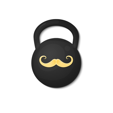 circus artist: Strongman logo, picture design weight with the image of the mustache, circus artist, vector illustration isolated on white background