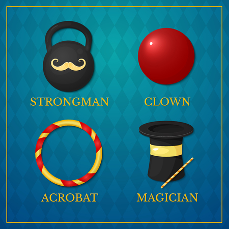Vector icons circus artists, strongman, acrobat, magician, clown on vintage background Illustration