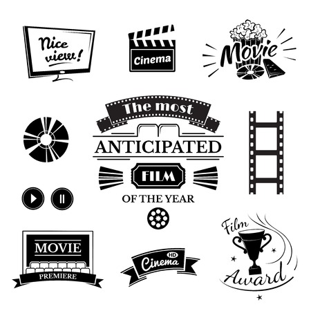 movie and popcorn: Movie signs set, cinema icon and film labels