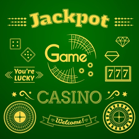 bage: Casino icon and label set, typography design, game roulette illustration on green background Illustration