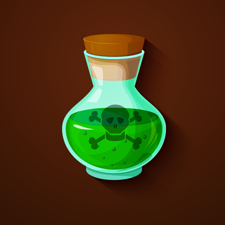 poison symbol: Glass bottle with a green toxic liquid, poison symbol, illustration on dark background Illustration