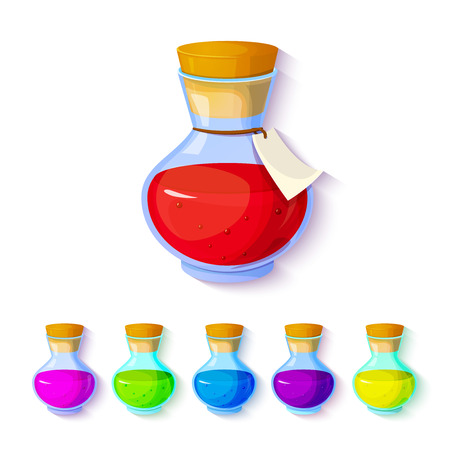 palliative: Set of elixirs, icon of the game equipment, bottle with multi-colored liquid, illustration Illustration
