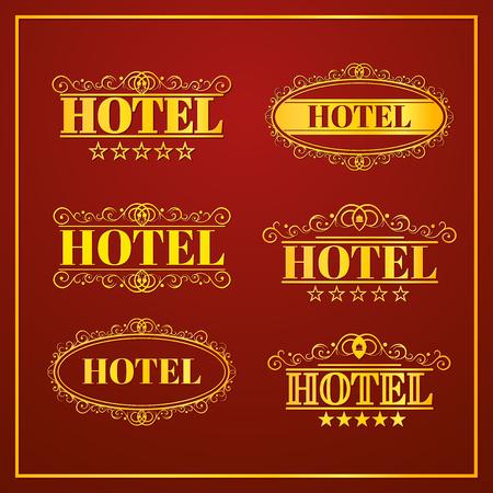 Del hotel Vintage etiquetas, icono negocios, ilustración