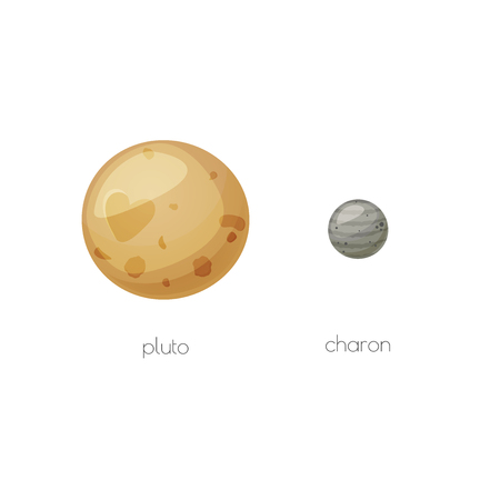 pluto: Pluto and its moon Charon, space objects in cartoon style