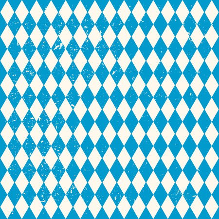 Oktoberfest seamless pattern with blue and white rhombus, flag of Bavaria, old diamonds background with cracks and dust Vettoriali
