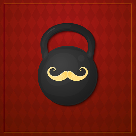 strongman: Strongman icon, picture design weight with the image of the mustache, circus artist, illustration on vintage background Illustration