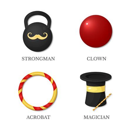 nariz roja: Iconos de artistas de circo, hombre fuerte, acróbata, mago, payaso aisladas sobre fondo blanco Vectores