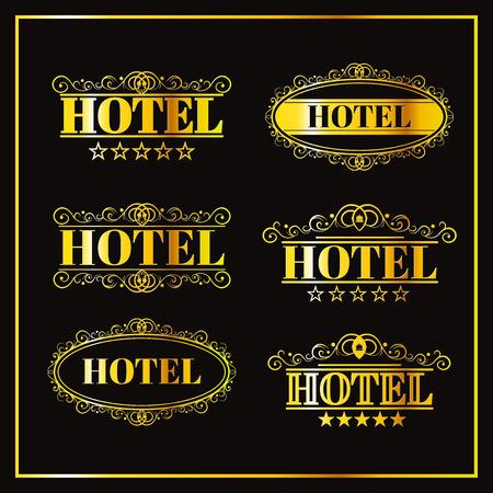 Hotel vintage golden labels, business icon, illustration