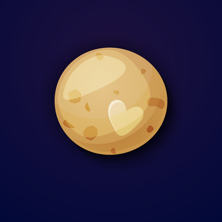 pluto: Pluto planet, space objects in cartoon style on space background Illustration