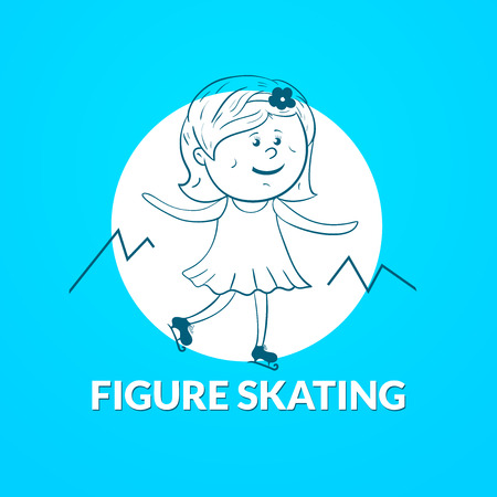 figure skating: Figure skating icon, dynamic image silhouette figure skater with an inscription Illustration