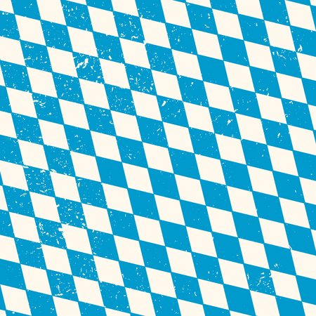 disposed: Oktoberfest seamless pattern with blue and white rhombus  disposed diagonally, flag of Bavaria, old diamonds background with cracks and dust