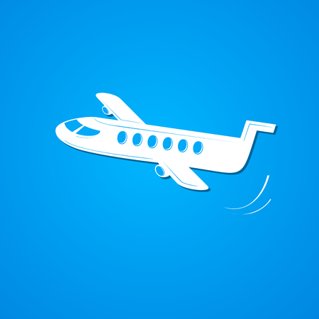 simple sky: Plane symbol, airplane simple illustration on sky background Illustration