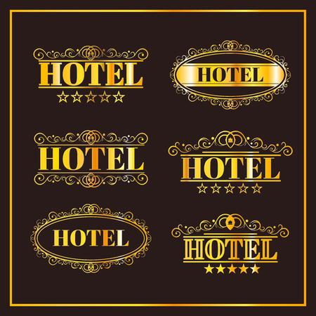 Hotel vintage golden labels, elegant luxury business icon illustration