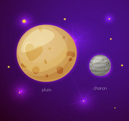 pluto: Pluto and its moon Charon, space objects in cartoon style on space background with stars