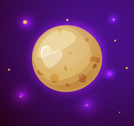 Pluto planet, space objects in cartoon style on space background with stars