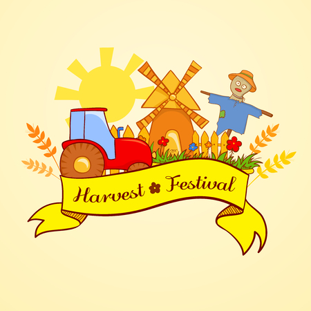 Harvest Festival, illustration with the image elements of the agricultural landscape and beautiful ribbon with the inscription