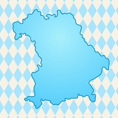 bavaria: Map of Bavaria against the backdrop of the Bavarian flag illustration