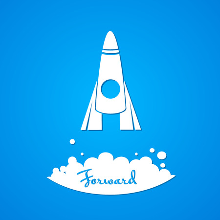 perseverance: Moving forward, the flat abstract rocket with the inscription Illustration