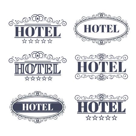 Hotel vintage labels, elegant luxury business Vectores