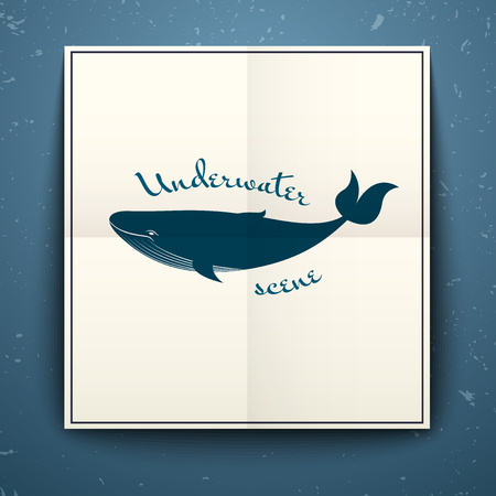 cachalot: Big blue whale poster folded in half on the old background with cracks, vector illustration