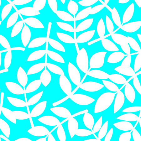 neon plant: White abstract plant leaves randomly arranged on blue background, simple vector seamless pattern