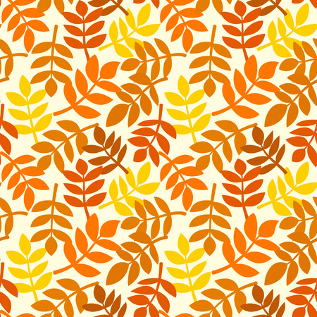 Simple background with leaves of autumn leaves plants randomly arranged, rowan branchs in different shades of orange, vector seamless pattern Vettoriali