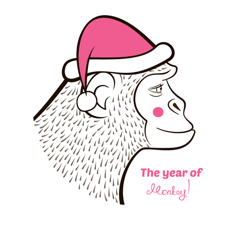 year profile: Holiday card with a New year, pencil drawing monkey in color Santa Claus cap, outline cartoon character face in profile and calligraphy inscription congratulation, vector illustration  doodle style