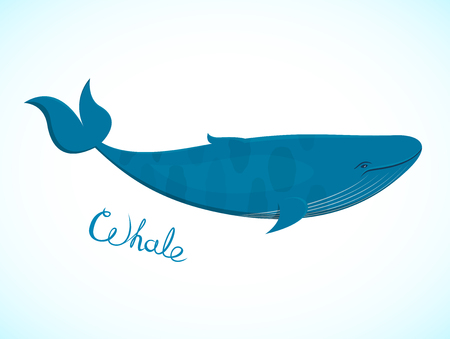 cartoon sperm: Big blue whale floating right with an inscription, the inhabitant of the underwater world, beautiful vector illustration in realistic style