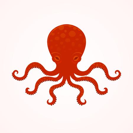 sea monster: Red big octopus vector illusrtation, sea monster, underwater food