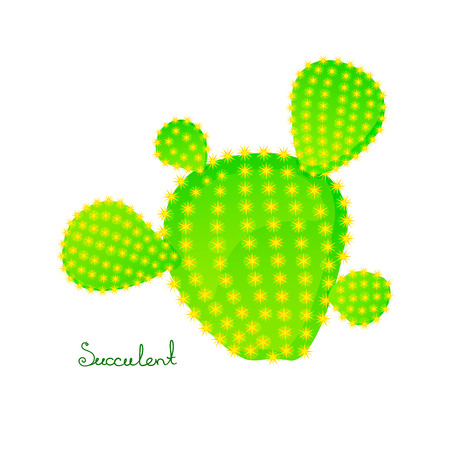 prickly pear: Green prickly pear cactus with four spikes, bright juicy succulent, vector illustration in cartoon style