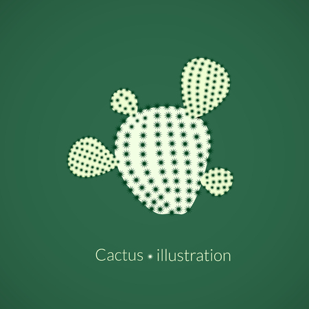 prickly: Green plant prickly pear cactus with four spikes, succulent abstract illustration
