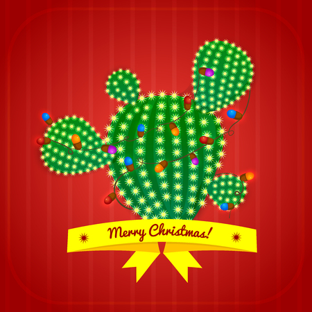 prickly: Christmas green prickly pear cactus tree with four spikes decorated with garland and yellow ribbon with congratulatory messages. bright juicy succulent, vector illustration in cartoon style